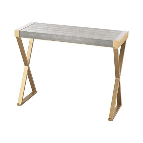 shagreen console table gold base gray faux shagreen console table
