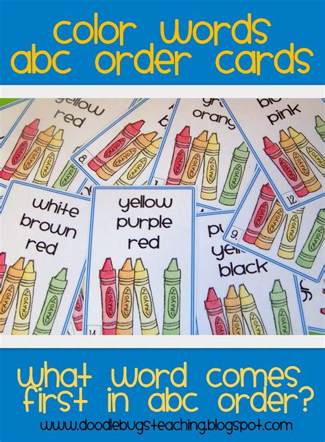doodle order doodle bugs teaching grade rocks color words abc