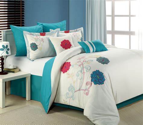 8pc luxury bedding set lucile white teal pink