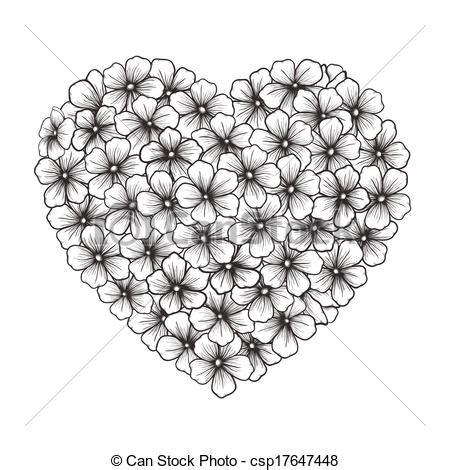 bloemen zwart wit tekening eps vector van hart zwart wit bloemen omtrek vorm