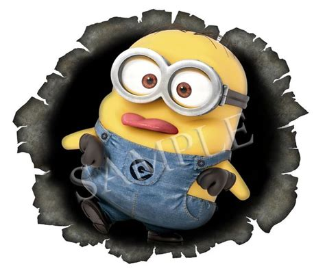 minion bullet hole pulling tongue  sticker  decal