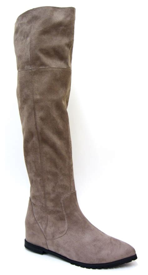 womens faux suede leather flat knee high boots