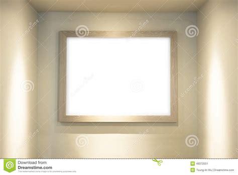 eclairage cadre tableau tableau blanc vide avec le cadre en bois dans le fond de