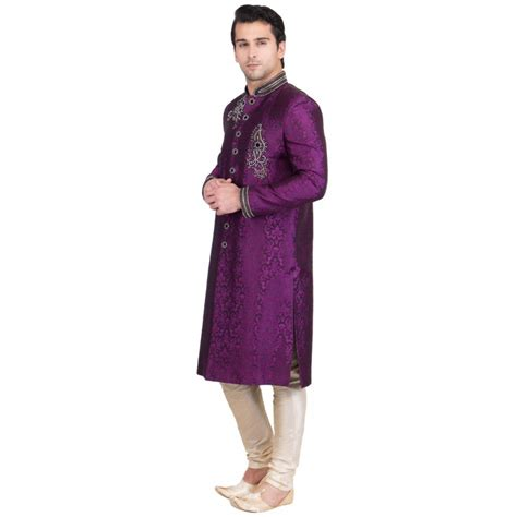 violet colored buy sherwani in india violet colored resham jacquard