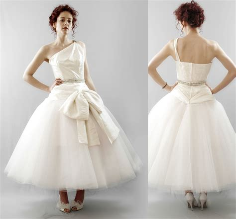 vintage tea length wedding dress chic tea length vintage inspired wedding dress with one