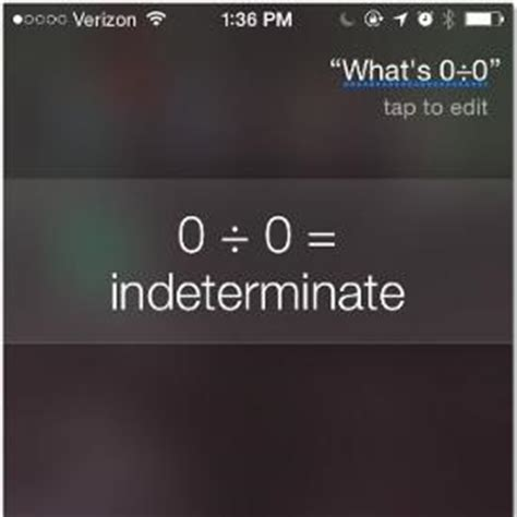 siri gets sassy when you ask what s zero divided by zero siri gets feisty when you ask her this question news