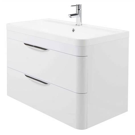 High gloss white curved 800mm 2 draw wall mounted vanity unit