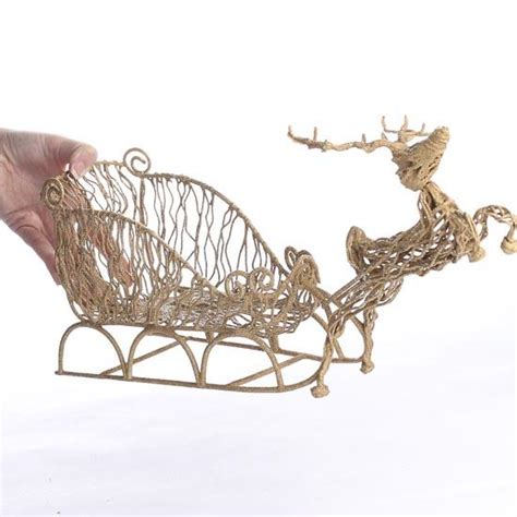 glistening gold grapevine flying reindeer and sleigh new
