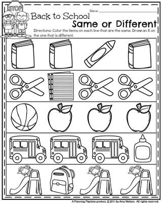 Same And Different Worksheets For Preschool by Back To School Preschool Worksheets Planning Playtime