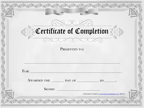 completion certificate template free premium