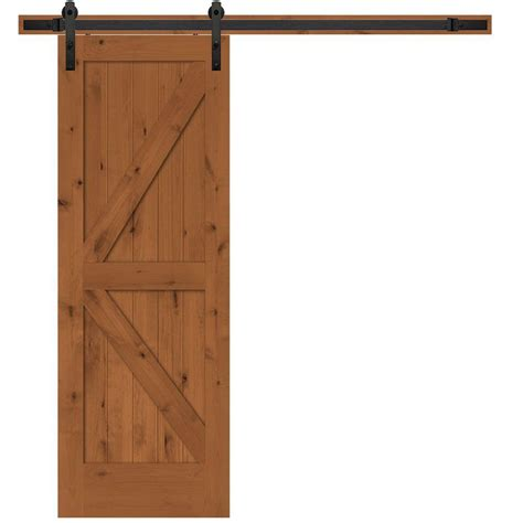Steves Sons 30 In X 84 In Rustic 2 Panel Stained Barn Door Interior Hardware