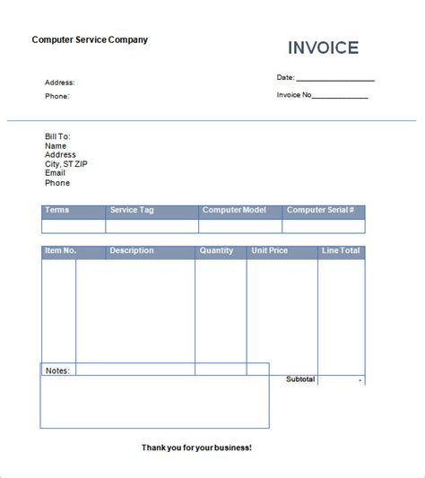 computer repair invoice template painting and decorating invoice exle hardhost info