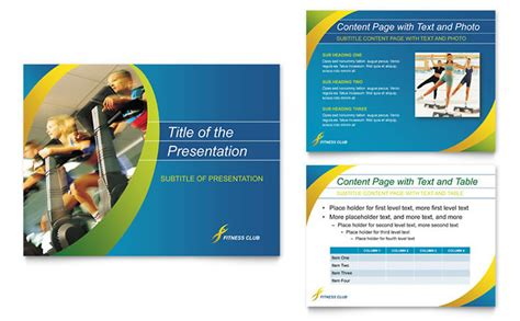 sports health club powerpoint presentation template design