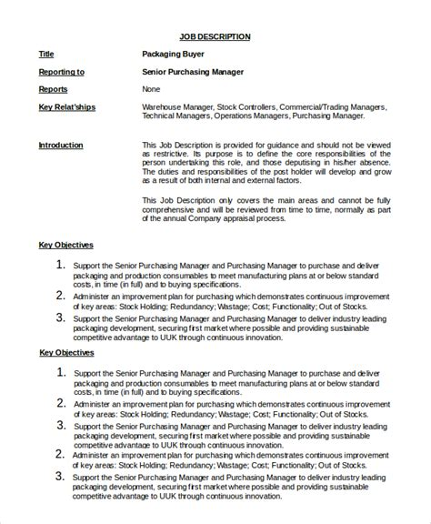 doc 460595 purchasing manager description purchasing manager description template
