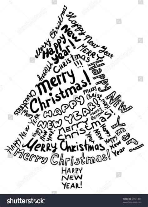 silhouette christmas tree consisting of text greetings