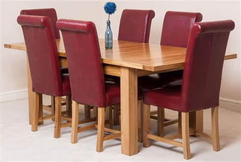 Dining Chairs Seattle Seattle Dining Set With 6 Burgundy Chairs Oak Furniture King