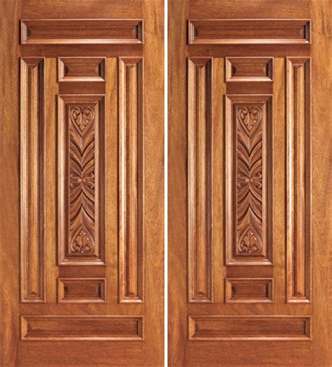 Carved Exterior Doors Entry Mahogany Wood Carved 7 Panel Traditional Door Traditional Front Doors
