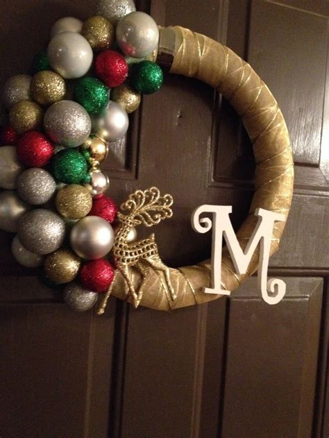 the morey family christmas wreath made with ribbon and