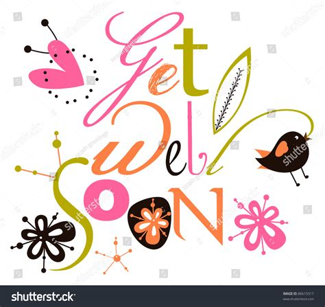 get well soon script card stock vector illustration