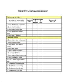 preventive maintenance form template 17 checklist templates free premium templates