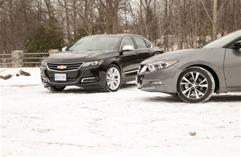 nissan impala comparison test 2016 nissan maxima versus 2016 chevrolet