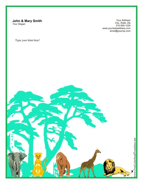Printable Animal Letterhead | jungle letterhead