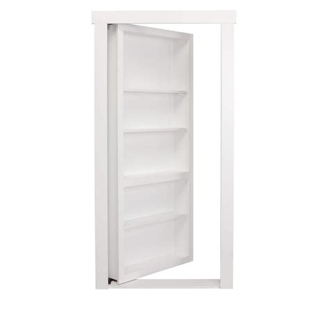 Home Depot White Interior Doors The Murphy Door 30 In X 80 In Assembled White Painted Flush Mount Bookcase Wood Single Prehung