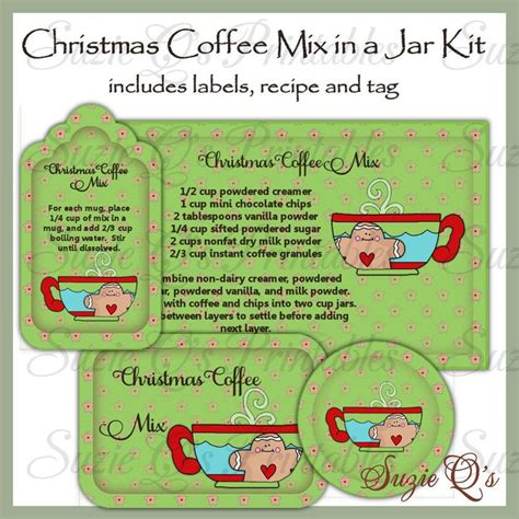 printable cookie jar labels make your own christmas coffee mix in a jar labels tag