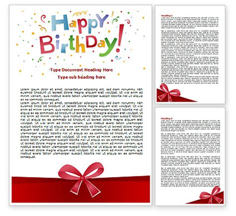 happy birthday bow word template 07660 poweredtemplate com