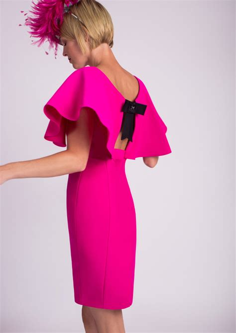 Who Wore It Better Godfrey Fuchsia Bow Dress by Cape Sleeve Dress In Fuchsia
