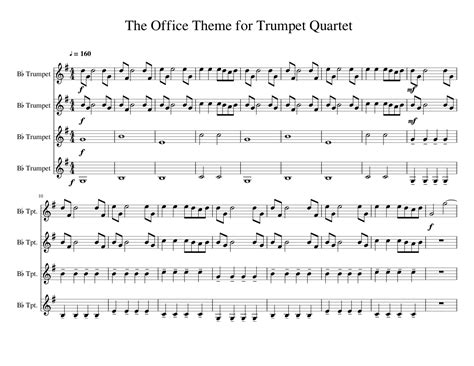 The Office Song by The Office Theme For Trumpet Quartet Sheet For