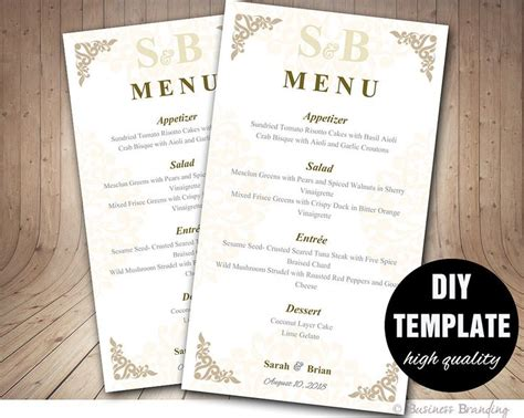 diy menu card template 1000 ideas about wedding menu template on