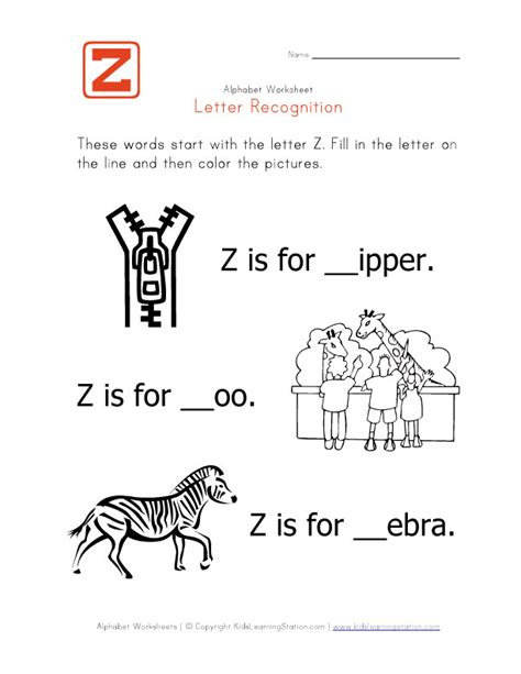 4 Letter Words Preschool kindergarten worksheets for letter z letter z worksheets