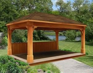 Backyard Creations Gazebo Rough Cut Cedar Double Roof Open Rectangle Gazebos