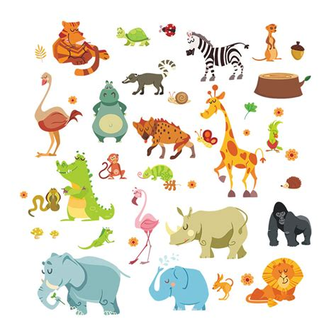 Jungle Animals Wall Stickers baby animal posters reviews online shopping baby animal