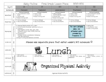 Lesson Plan Template Pre K Elementary By Babbling Abby Tpt Pre K Daily Lesson Plan Template