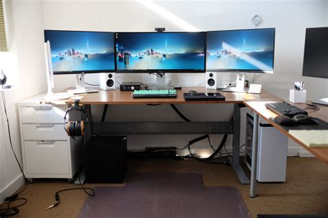 computer desk setup ideas ikea gaming computer desk setup with drawer also triple monitors and white pc case battle
