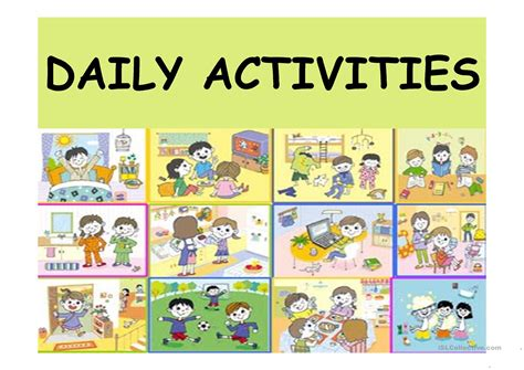 activities for daily activities worksheet free esl projectable