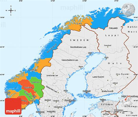political map of scandinavia political simple map of single color outside