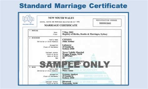Marriage Records Nsw Free Nsw Standard Marriage Certificate For 12 Months