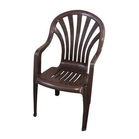 Plastic Patio Chair Shop Gracious Living Earth Brown Seat Plastic Stackable Patio Dining Chair At Lowes