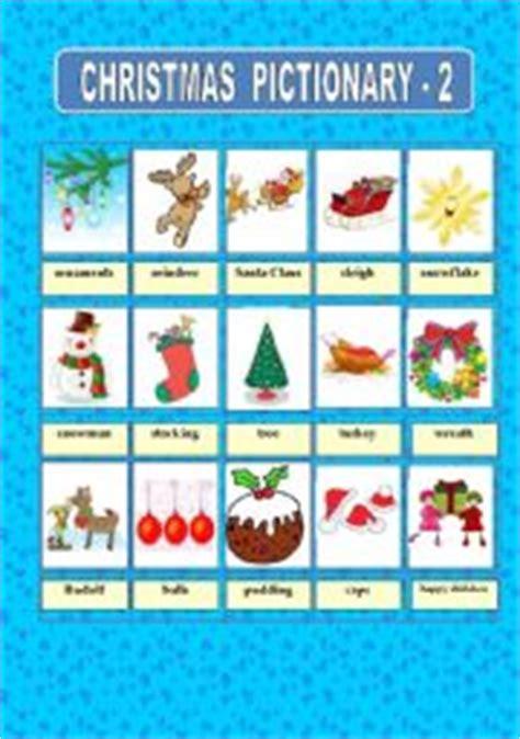 printable christmas pictionary cards english worksheet christmas pictionary 2