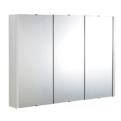 3 door mirrored bathroom cabinet white bathroom
