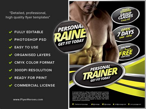 templates for personal training flyers personal fitness flyer template flyerheroes