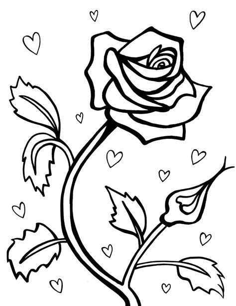 coloring pages flowers and hearts free printable roses coloring pages for kids