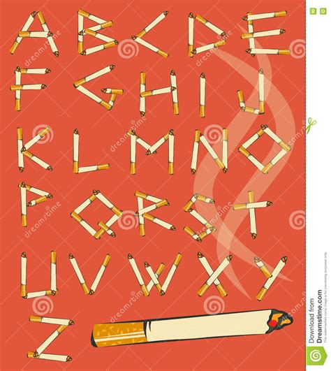 up letter to cigarettes font made of cigarettes comic cigarette alphabet