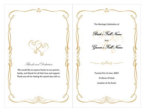 free wedding program templates word word wedding program free template wedding plans