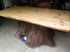 Saw Bench For Logs Custom Real Oak Tree Trunk Kitchen Dining Table One Of