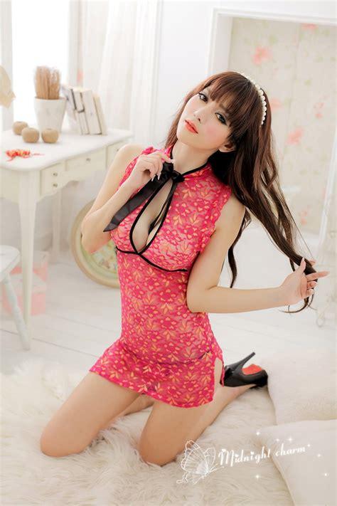 amazing babydoll nightwear sexy cheongsam lace women s pink lace cheongsam chinese style dress sexy lingerie