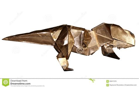 Origami Tyrannosaurus - origami dinosaur t rex isolated on white stock photo